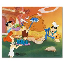 """Flintstones Barbecue"" Limited Edition Sericel from the Popular Animated Series The Flintstones. Inc"