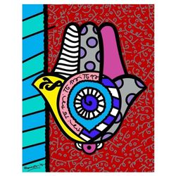 "Romero Britto ""Hamsa Red Up"" Hand Signed Giclee on Canvas; Authenticated"