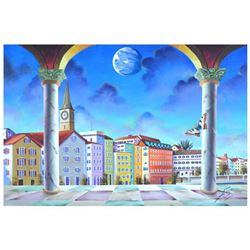 "Ferjo, ""Switzerland Town"" Original Painting on Canvas, Hand Signed with Letter of Authenticity."