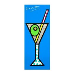 "Romero Britto ""Blue Martini"" Hand Signed Limited Edition Giclee on Canvas; Authenticated"