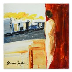 """Adriana Naveh, """"City View"""" Original Acrylic Painting on Canvas, Hand Signed with Letter of Authentic"""