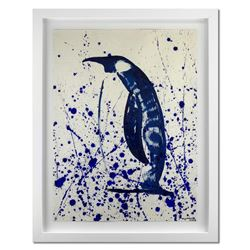 """Wyland, """"Penguin Splash"""" Hand Signed Original Painting with Certificate of Authenticity."""