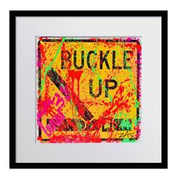 """E.M. Zax, """"Buckle Up"""" Framed Original Hand Painted Metal Street Sign, Hand Signed with Letter of Aut"""