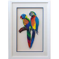 "Patricia Govezensky- Original Painting on Laser Cut Steel ""Two Parrots"""
