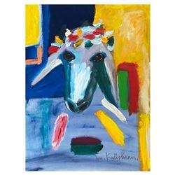 "Menashe Kadishman- Original Oil on Canvas ""Untitled"""
