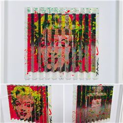 """E.M. Zax- One-of-a-kind 3D polymorph mixed media on paper """"Warhol & Channel"""""""