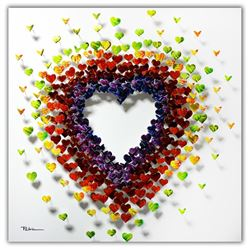 "Patricia Govezensky- Original 3D Metal Art on Wood ""Heart To Love"""