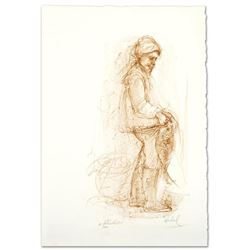 """""""Fisherman"""" Limited Edition Lithograph by Edna Hibel (1917-2014), Numbered and Hand Signed with Cert"""