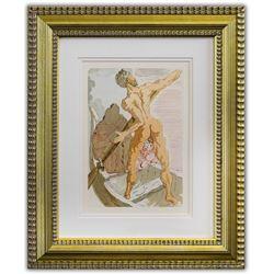 "Salvador Dali- Original Color Woodcut on B.F.K. Rives Paper ""Inferno 3"""