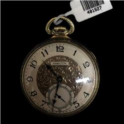 14KY 1926 Hamilton 12s 17j Engraved Pocket Watch