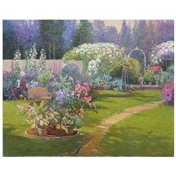 "Ming Feng, ""Late Summer Garden"" Original Oil Painting on Canvas, Hand Signed with Letter of Authenti"