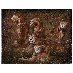 "Vera V. Goncharenko, ""Leopards"" Hand Signed Limited Edition Giclee on Canvas with Letter of Authenti"