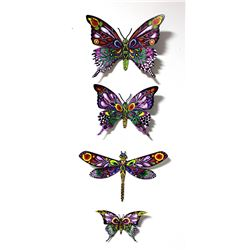 "Patricia Govezensky- Original Painting on Cutout Steel (Set of 4) ""Set of 4 Butterflies"""