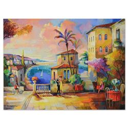 "Alex Grinshpun, ""Twilight Time In Italy"" Original Oil Painting on Canvas, Hand Signed with Letter Au"