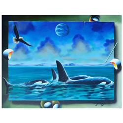 "Ferjo, ""Orca Family"" Original Painting on Canvas, Hand Signed with Letter of Authenticity."