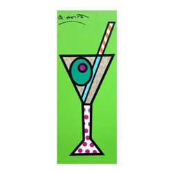 "Romero Britto ""Green Martini"" Hand Signed Limited Edition Giclee on Canvas; Authenticated"