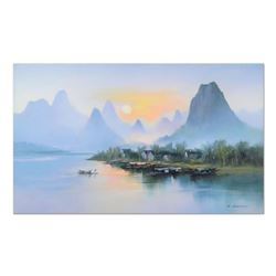 "H. Leung, ""Village at Dusk"" Hand Embellished Limited Edition on Canvas, Numbered and Hand Signed wit"