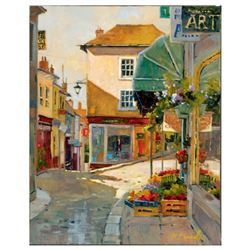 Marilyn Simandle,  Cobblestone Village  Limited Edition on Canvas, Numbered and Hand Signed with Let