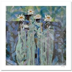 Lotus  Limited Edition Serigraph (38  x 38 ) by Renowned Artist Lu Hong, Numbered and Hand Signed w