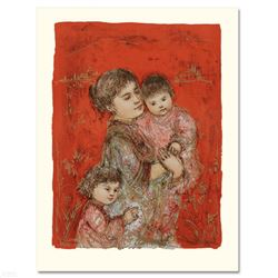 """""""Lorelei and Children"""" Limited Edition Lithograph by Edna Hibel (1917-2014), Numbered and Hand Signe"""