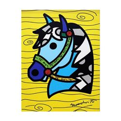 """Romero Britto """"Country Horse"""" Hand Signed Limited Edition Giclee on Canvas; Authenticated"""