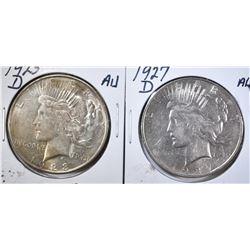1923-D & 1927-D AU PEACE DOLLARS