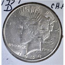 1934-D PEACE DOLLAR, CH AU