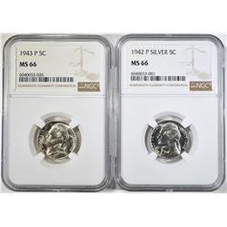 1942-P & 43-P SILVER JEFFERSON NICKELS, NGC MS-66