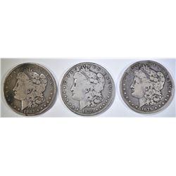 1879-O, 1880-O & 1882 CIRC MORGAN DOLLARS