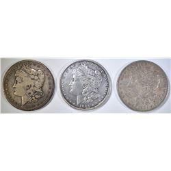 1885-O, 1886-O & 1890-S CIRC MORGAN SOLLARS