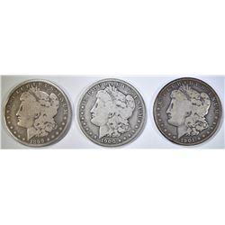 1899-O, 1900-O & 1901-O CIRC MORGAN DOLLARS