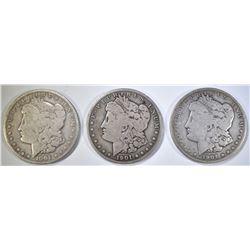 1901-O, 1901-S & 1904 CIRC MORGAN DOLLARS