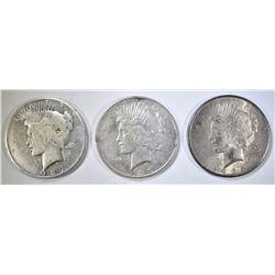1925, 26-D & 27-D CIRC PEACE DOLLARS
