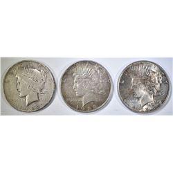 1922-D,1-23-D & 1-23-P CIRC PEACE DOLLARS