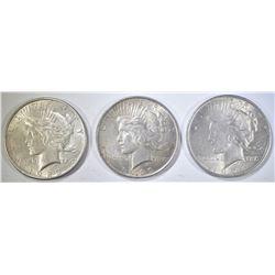 1922, 23-D & 24 CIRC PEACE DOLLARS