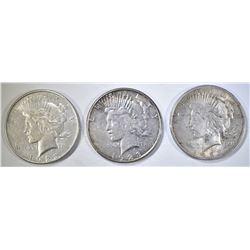 1923-P-D-S CIRC PEACE DOLLARS