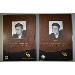 2 2015 COIN & CHRONICLES SETS  JOHN F KENNEDY