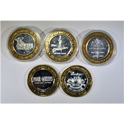 5 LIMITED EDITION $10 SILVER GAMING TOKENS