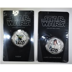 2 2011 NUIE $1 STAR WARS SILVER PLATED COINS