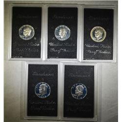 SILVER IKE DOLLARS; 2-1971-S, 2-1972-S, & 1-1974-S