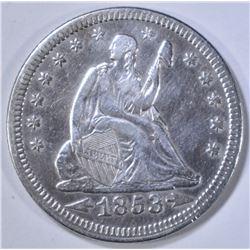 1853 ARROWS & RAYS SEATED LIBERTY QUARTER XF/AU
