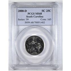 2000-D SOUTH CAROLINA STATE QTR, PCGS MS-68