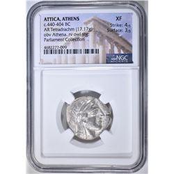 440-404 BC ATHENIAN OWL, AR TETRADRACHM NGC XF 4/3