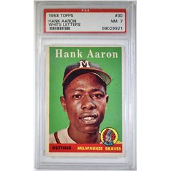 1958 TOPPS HANK AARON WHITE LETTERS PSA 7