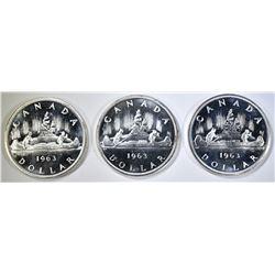 3-NICE CH BU 1963 CANADIAN SILVER DOLLARS