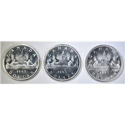 3-NICE CH BU 1965 CANADIAN SILVER DOLLARS