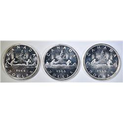 3-NICE CH BU 1966 CANADIAN SILVER DOLLARS