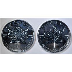 2-2006 BU CANADIAN SILVER MAPLE LEAF COINS