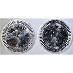 2-BU 2020 1-oz SILVER AUSTRALIA KANGAROO COINS