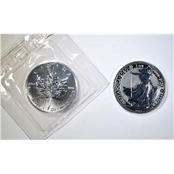1989 MAPLE LEAF & 2020 BRITANNIA 1-oz SILVER COINS